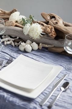 Ocean Chic: Styled Pretty - Centerpieces made of driftwood, seashells & blooms -  Amanda Douglas Events and Pearl Angelini Photography