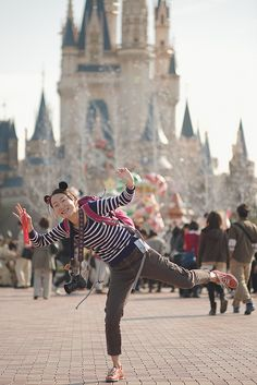 Megumi pose in front of Cinderella Castle, Tokyo, Disneyland by shigzeo via Flickr