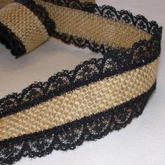 Natural Burlap with Black Lace Ribbon