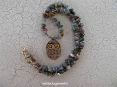 Woodsy Owl necklace designed by Chris White of http://dzeyenrstudio.blogspot.com. I love seeing where the owls end up... it is like seeing an old friend again! I love the texture on these natural stone beads and the colors are so harmonious! Created for the Simple Truths Celebration, July 2012.