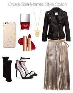 """Gold and black"" by chiara-gaia-milanesi on Polyvore featuring moda, Valentino, Anine Bing, Boohoo, Kate Spade, Gorjana e Butter London"