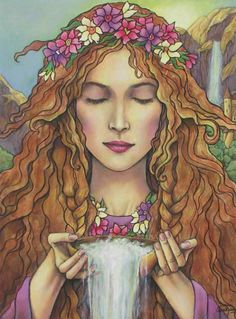"""Calliope is the leader of the nine Muses, and the Goddess of epic poetry. Her name means """"Beautiful Voice"""" Beautiful art by Donna Smallenberg Fantasy Kunst, Fantasy Art, Illustrations, Illustration Art, Goddess Art, Angel Art, Gods And Goddesses, Female Art, Painting & Drawing"""
