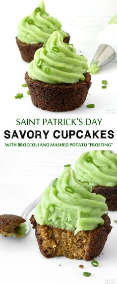 Saint Patrick's Day Savory Cupcakes with Broccoli-Mashed Potato Topping.