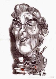 caricature of Agatha Christie