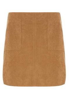 Petite Tan Suedette Skirt