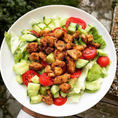 Stop making excuses eating healthy can be easy! Chop up some salad cucumbers and tomatoes add a splash of olive oil and some grilled chicken (or any leftover meat you have in your fridge) for an awesome lunch salad!  #onpath #salad #healthyeating    #healthyeating #healthyfood #fitnessfood #fitnesslife #fooddiary #healthyliving #youarewhatyoueat #foodjournal #eatwell #eatclean #weightloss #balanced #fitness #paleo #healthybody #icandothis #feelinggood #healthylifestyle #womenshealth