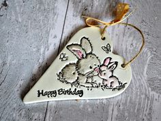 Girls birthday gift, Clay heart plaque, Cute birthday card alternative with bunny imprint, Teenage girl gift, Sister birthday, Friend gift - pinned by pin4etsy.com