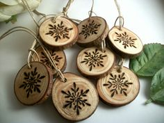 8 Small Red Pine Snowflake Wood burned Ornaments - Tree Branch Gift Ornaments/Tags - 1 1/4 inch - Natural and Organic Decor Wine Charms.  The Hickory Tree.