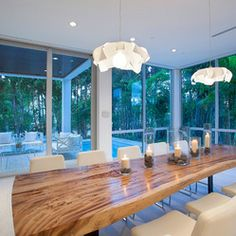 Raw Wood Slab Dining Table Design Ideas, Pictures, Remodel, and Decor