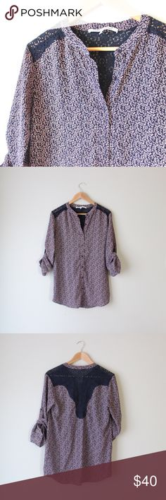 """Printed Roll Tab Lace Inset Button Down Shirt Super cute Collective Concepts lace inset printed blouse. Purple and navy geometric print. Roll tab sleeves, can be converted to long sleeves. Originally bought from Stitch Fix. In excellent gently used condition.   Bust: 19"""" Length: 30"""" Size: Small  All orders ship next business day! Collective Concepts Tops Button Down Shirts"""