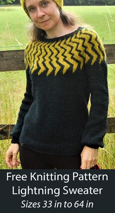 Free Knitting Pattern Lightning Sweater Electrify your wardrobe with this top down sweater with lightning bolts on the yoke in stranded colorwork. Sizes 32.75(34.75, 39.25, 43.75, 47.5, 52, 56.75, 60.5, 64.5) inches / 83(88, 99.5, 110, 120, 132, 144, 153.5, 164)cm. Worsted weight yarn. Designed by Elizabeth Felgate for Knitty. Sweater Knitting Patterns, Free Knitting, Pullover Sweaters, Short Sleeves, Tops, Design, Fashion, Moda, Fashion Styles