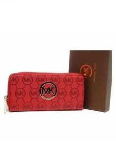 MICHAEL Kors Wallet Zip Continental Leather Red