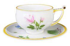 Russian Imperial Lomonosov Porcelain Tea Cup Saucer Flower Rose Tarusa Lfz Gold