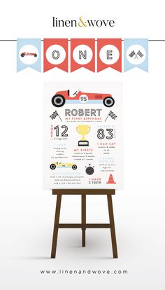 Race Car Birthday, Race Car Party, Baby Boy 1st Birthday, Vintage Car Party, Vintage Race Car, Car Themed Parties, Cars Birthday Parties, Second Birthday Ideas, Party Rock
