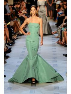 Zac Posen seafoam green pintucked mermaid gown shown during Mercedes Benz Fashion Week Spring/Summer 2013 in New York City. #NYFW #models