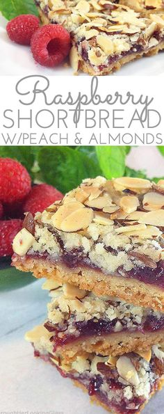 These old-fashioned Peach & Raspberry Shortbread Squares (w/Almonds) are perfect for picnics and lunch boxes this summer. Crunchy and sweet, buttery and packed with peach, almond & raspberry flavor. #Raspberry #Peach #Shortbread #ShortbreadRecipe #RaspberryShortbread #AlmondShortbread #RaspberryPeachShortbread #RaspberryDessert #RaspberryBars