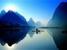 Guangxi, China ( I would never visit, but it's lovely all the same. Beautiful World, Beautiful Images, Oh The Places You'll Go, Places To Travel, Asia, Pretty Pictures, Beautiful Landscapes, Scenery, Color Blue