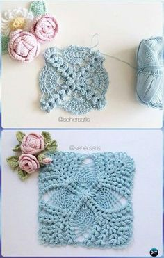Transcendent Crochet a Solid Granny Square Ideas. Inconceivable Crochet a Solid Granny Square Ideas. Crochet Puff Flower, Crochet Flower Patterns, Crochet Stitches Patterns, Crochet Flowers, Knitting Patterns, Granny Square Crochet Pattern, Crochet Blocks, Crochet Squares, Crochet Motif