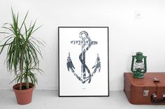Bring somenautical vibes with this classic maritime collage.  Art Print  Interior Decor ]  Anchor  Printed on 300gsm heavy grain paper. Using high quality colour accurate Laser Jet.