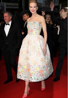 Nicole Kidman teamed her unusual quiff hairstyle with a fairytale Dior gown [Rex]