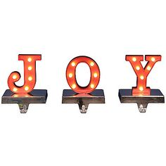 This season, hang your stocking joyfully on the beautifully crafted LED-Lighted JOY Stocking Hangers. Decorated with 18 LED lights, these illuminated hanger will add a fun, festive touch to your holiday décor.