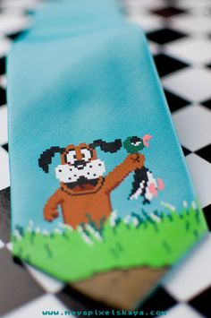 Pixelated Duck Hunt dog with duck from the classic Nintendo game   one off screen print mens tie by Maya Pixelskaya   Retrogame Art