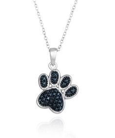 Another great find on #zulily! Blue & White Diamond Paw Print Pendant Necklace #zulilyfinds