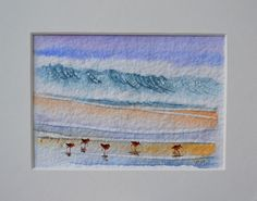 WAVES BEACH SCENE WITH BIRDS OCEAN SAND PAINTING ARTIST PJ COOK NEW ORIGINAL NR #Impressionism