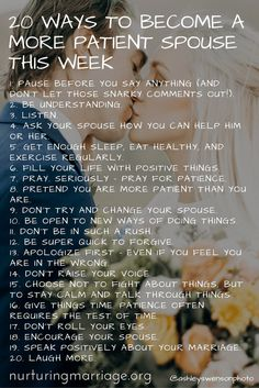 20 ways to become a more patient spouse this week. be. more. patient. #marriage