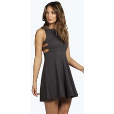 Boohoo Roxey Textured Cut Out Skater Dress ($30) ❤ liked on Polyvore featuring dresses, black, maxi dress, black sequin cocktail dress, sequin bodycon dress, skater dress and bodycon dress