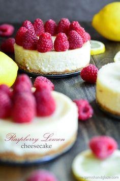 Mini Raspberry Lemon Cheesecakes