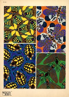 Insects-Bugs-Wings of a studio-Unusual composition-Pattern-Print. Textiles, Textile Patterns, Textile Prints, Print Patterns, Textile Design, Pattern Print, Fabric Design, Art Deco Pattern, Insect Art