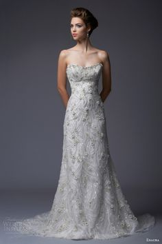 enaura bridal fall winter 2013 2014 strapless a line beaded wedding gown style ef360