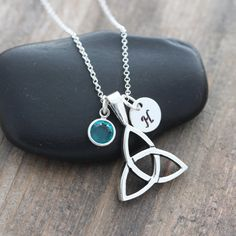 Sterling Silver Triquetra, Silver Trinity Knot Necklace, Celtic triquetra Personalized Birthstone Initial Necklace, Irish Celtic jewelry on Etsy, $39.80