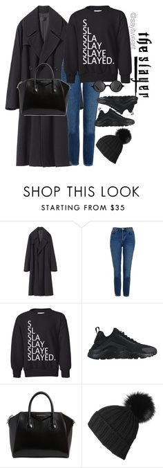 """""""The Slayer"""" by sayitwearit on Polyvore featuring Topshop, NIKE, Givenchy, Black and Muse"""