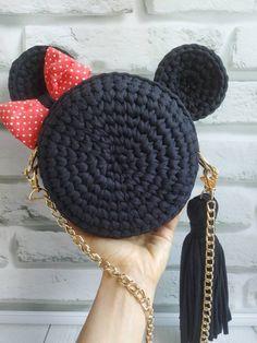 Etsy Miss Minnie mouse Source by de croche fio de malha com grafico Free Crochet Bag, Crochet Baby, Knit Crochet, Crochet Handbags, Crochet Purses, Crochet Backpack, Bag Women, Crochet Mouse, Knitted Bags