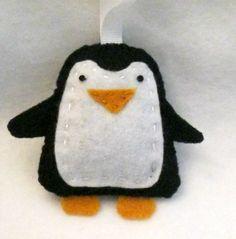 Felt Penguin Ornament #felt #ornament #penguin
