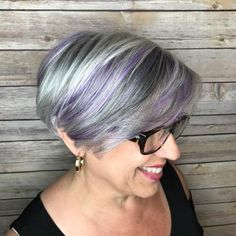 50 Gray Bob With Pastel Purple Balayage Grey Hair With Purple Highlights, Purple Grey Hair, Purple Balayage, Short Grey Hair, Pastel Purple, Pastel Highlights, Purple Streaks, Peekaboo Highlights, Short Ombre