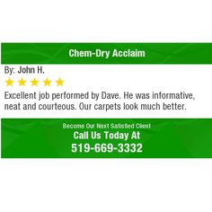 Excellent job performed by Dave. He was informative, neat and courteous. Our carpets look...