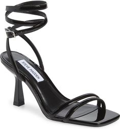 Free shipping and returns on Kyrah Ankle Wrap Sandal at Nordstrom.com. Slender straps wrap up and around the ankle of a square-toe sandal set on a tapered heel. Low Key, Summer Wedding, Purses, Sandals, Heels, Stuart Weitzman, Outfits, Fashion, Handbags