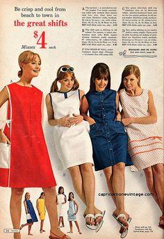 montgomery ward 1967 summer sale catalog. cute shift dresses.