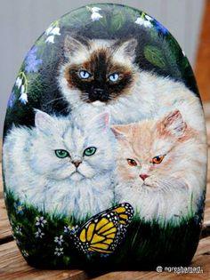 hand painted rocks, custom pet portraits, cats, kittens
