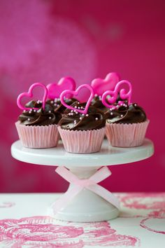 Raspberry Cupcakes with Chocolate Frosting and Pink Chocolate Hearts
