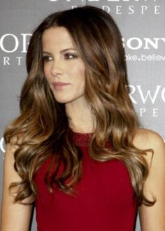 Underworld star Kate Beckinsale rocks long, tousled toffee brown locks that cascade over her shoulders. This warm brown hair suits most complexions, and it's really easy to maintain. Start your toffee brown streaks at cheek level to emphasize your eyes and cheekbones