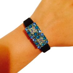 Fitbit Alta, Fitbit Flex Jewelry to Accessorize Your Fitness Activity Tracker Bracelet - Colorful Square Rhinestone Studded VISTA Charm Bracelet Accessory (Blue). This beautiful charm is handmade to order. It is designed to be snugly secured against your fitness tracker to amplify your look! Instead of wearing a sporty and bare plastic Fitbit Charge, Fitbit Charge HR, Fitbit Alta or Fitbit Flex band, add to your unique style with the bracelets of Weekend Wearables. To Use: Effortlessly…
