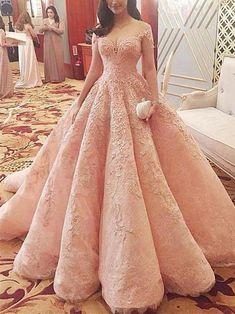A-line Off-Shoulder Floor-Length Lace Elegant Prom Dresses HX00136 #promdress #lace #elegant #vintage