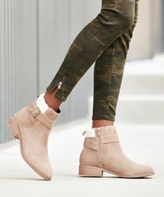 Taupe suede ankle bootie with shearling trim | Sole Society Austen