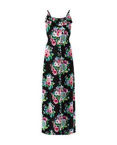 Pussycat Black Strappy Floral Print Frill Trim Maxi Dress | New Look