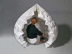 Paper Dome by Kelsey Olson ~ Fragile as it seems, paper is sometimes used in architectural applications, creating small temporary structures that can feel surprisingly sturdy and comforting – like this womb-like dome by Kelsey Olson of Minneapolis College of Art and Design.