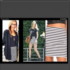 Sexy white/black bodycon bandage mini pencil skirt ONE DAY SALE!!!!I If SEXY is your goal, this skirt has got you covered!! Go ahead and turn heads! THINK VEGAS! PARTY! CLUB! White with black stripes pencil Skirt, 84% Nylon, 8% Polyester & 8% Spandex Beautifully conforms to your body! NWT, FAST SHIPPING!!! Also available in blue/navy blue stripes & black/pink. 2+ BUNDLES SAVE 20%!  Skirts Mini